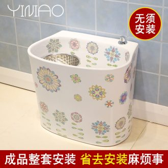 Million birds home balcony mop pool small ceramic mop pool automatic toilet basin of mop mop pool water