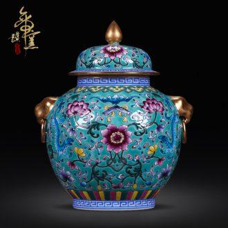 Jingdezhen ceramics archaize qing qianlong trace golden lion ear tank enamel vase Chinese crafts are sitting room