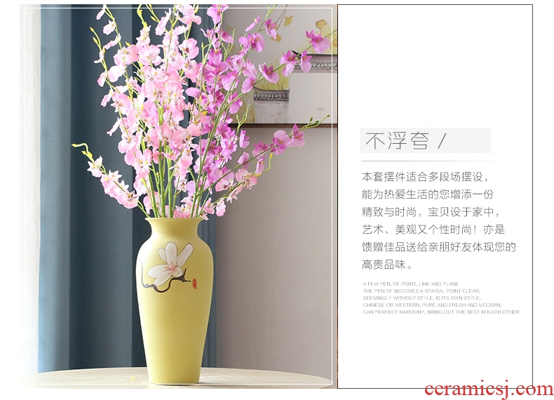 Art show new Chinese style between small pure and fresh and yulan three-piece ceramic vase example household act the role ofing is tasted decorative porcelain furnishing articles