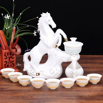 Four-walled yard semi automatic lazy people make tea ware and exquisite ceramic hollow out kung fu tea sets tea cup teapot household