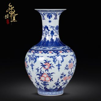 Jingdezhen ceramics imitation qing qianlong vase handmade antique bottles of blue and white porcelain arts and crafts sitting room adornment furnishing articles
