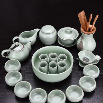 ? HaoFeng your kiln kung fu tea set suit household contracted teapot teacup ceramic tureen tea caddy parts