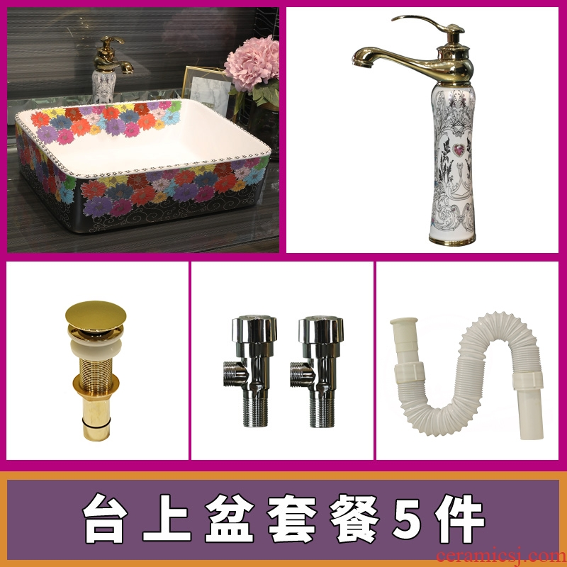 Gold cellnique sanitary ceramic lavabo square basin of fashion art color red pattern that wash a face plate