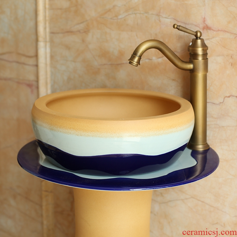 Spring rain ceramic column basin washing a face basin of pillar type outdoor toilet wash gargle balcony floor type lavatory