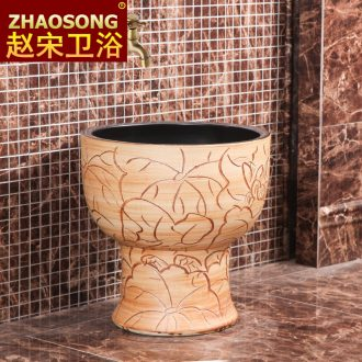 Restoring ancient ways of song dynasty ceramic mop pool toilet mop pool balcony outdoor mop mop basin integrated slot antifreeze