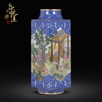 Jingdezhen ceramic antique qianlong hand-painted farmers receive figure quartet set vase Chinese sitting room porch decorate furnishing articles