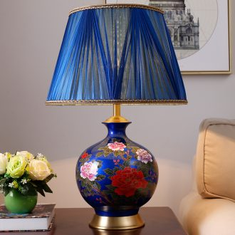 Ceramic lamp sitting room is the study of new Chinese style decoration lamp lights all copper restoring ancient ways of bedroom the head of a bed glazed ceramic lamp