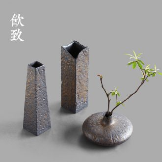 Drink to gold kiln decorative vase zen hydroponic flower implement Japanese ceramic flowers inserted tea tea table furnishing articles
