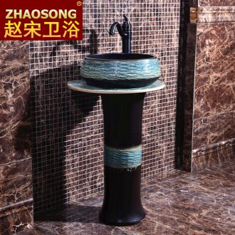 Basin of Chinese style restoring ancient ways of song dynasty porcelain pillar balcony floor toilet lavabo, the basin that wash a face outside the sink