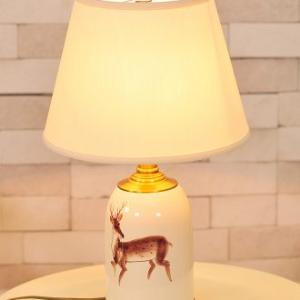 American whole copper hand-painted fawn ceramic desk lamp warm creative personality of bedroom the head of a bed example room sitting room chandeliers