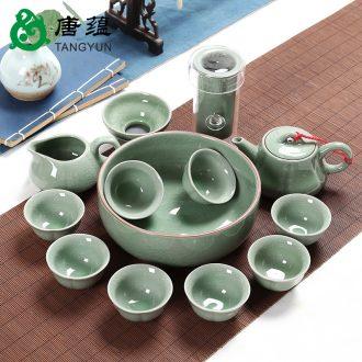 Your kiln tang yun tea set suit household azure start your porcelain ceramic tureen of a complete set of tea cups the teapot tea ceremony