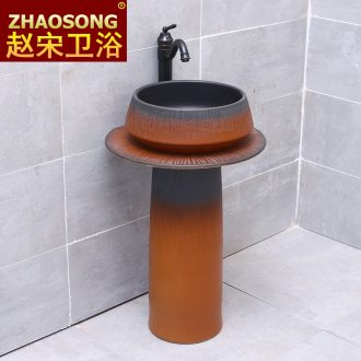 Basin of jingdezhen Chinese style restoring ancient ways of song dynasty floor pillar lavabo creative household sink outdoor balcony