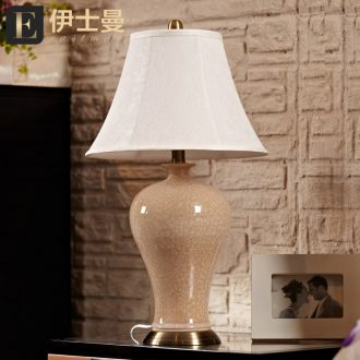 Eastman ceramic desk lamp large living room a study lamp is contracted and I Chinese style villa hotel desk lamp of bedroom the head of a bed
