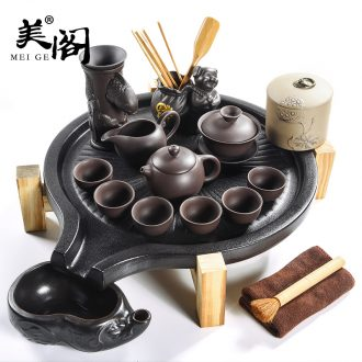 Fit the solid wood cabinet ceramic cups kung fu tea tray tea sets tea sea Japanese contracted household purple sand tea set
