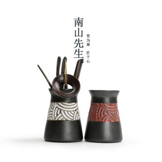 Mr Nan shan ebony 6 gentleman suit kung fu tea set match zero ceramic tea canister ebony ChaGa tea