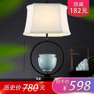 New Chinese style lamp ceramic decoration art study zen Chinese wind I and contracted sitting room bedroom lamps and lanterns of the head of a bed