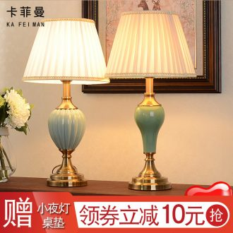 American retro ceramic desk lamp light contracted the new Chinese style of bedroom the head of a bed creative continental warm light sitting room desk lamp