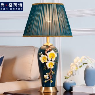 Large sitting room luxury colored enamel lamp full copper lamp of bedroom the head of a bed American sweet European ceramic new Chinese style