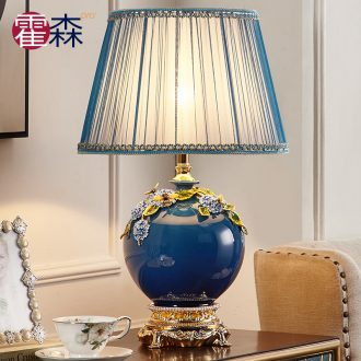 European - style key-2 luxury sitting room colored enamel lamp American pastoral bedroom berth lamp of new Chinese style household sweet ceramics