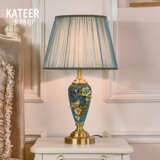 American retro full copper colored enamel lamp european-style luxury study creative ceramic marriage of bedroom the head of a bed room living room