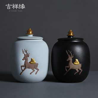 Auspicious a deer coarse pottery tea pot black and white ceramic margin area large seal storage tank retro puer tea pot