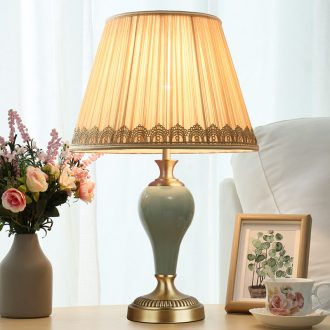American ceramic full copper bedroom berth lamp contracted and I creative sweet carried a warm light bedside table decoration