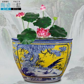 Jingdezhen carved flowers and birds ceramic aquarium goldfish turtle slept bowl LianHe flowerpot cylinder big flowerpot backyard furnishing articles