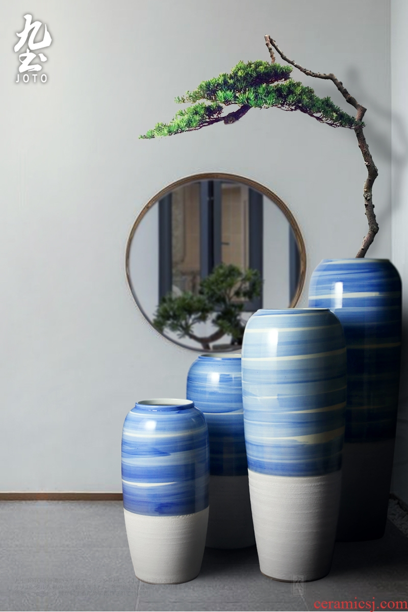 Jingdezhen big hand paint ceramic vase furnishing articles sitting room be born Chinese celadon decoration hotels high - grade decoration - 583154355335