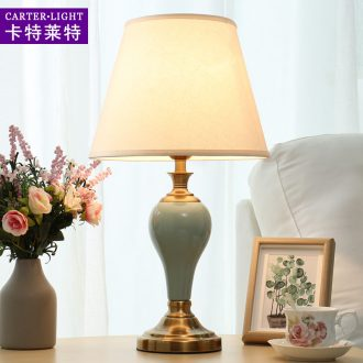 American ceramic lamp of bedroom the head of a bed lamp contracted and I creative move fashion warm light sweet American marriage room