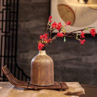 Ceramic POTS dry flower vase planting soil restoring ancient ways is sitting room decorate ceramic flower implement zen coarse TaoYingChun floral decorations