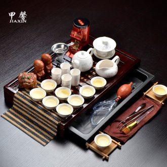 JiaXin ceramic tea set tea sea small solid wood tea Dr. Kung fu tea tray of a complete set of tea sets