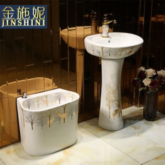 Vertical column column type lavatory Jane European ceramic lavabo toilet basin basin, wash gargle the console