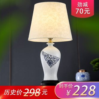 New Chinese style lamp I and contracted blue and white porcelain ceramic decoration art hand - made lamps and lanterns of the sitting room the bedroom of the head of a bed
