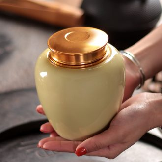 Tea pu 'er tea cans ceramic metal portable household longquan celadon porcelain jar sealing large tea caddy