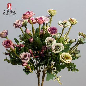 Ceramic terms dry flower, grass lavender flowers simulation flowers decoration table in the sitting room decorate floret bottle