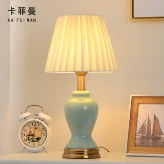 American contracted ceramic desk lamp bedroom key-2 luxury Nordic ins teenage web celebrity carried this marriage bedside lamp