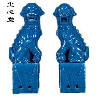 Dust heart of jingdezhen ceramic glaze blue lion modern household adornment handicraft furnishing articles rich ancient frame display ark, town