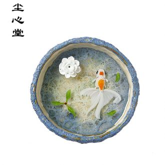 Dust heart hand draw 3 d incense in jingdezhen resin new Chinese style to send home dry landscape painting ceramic incense buner