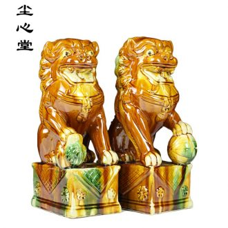 Dust heart ceramic furnishing articles of a pair of tang sancai Leo very handicraft vestibular place feng shui town house to ward off bad luck