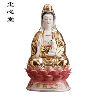 Dust heart ceramic golden body SongZi 12-32 inch lotus guanyin bodhisattva figure of Buddha for child safe riches and honor god