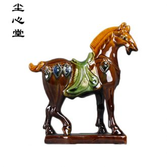 Dust heart of tang sancai pottery and porcelain horse furnishing articles presents six suit pure handicraft feng shui plutus dealer