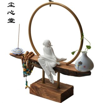 New Chinese style ceramic dust heart back sweet furnishing articles wood smoke backflow censer zen backflow present tea ceremony