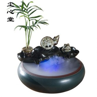 Dust heart water fountain small place aquarium desktop sitting room ceramics handicraft office feng shui wheel