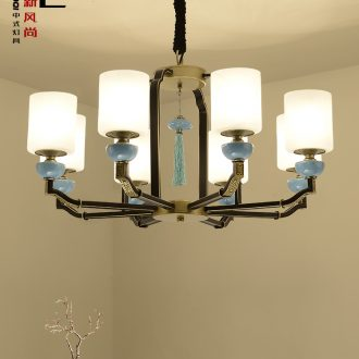 Jiao seven new Chinese style droplight sitting room light lamps and lanterns of study of Chinese style dining - room lamp, wrought iron ceramic glass hotel lighting