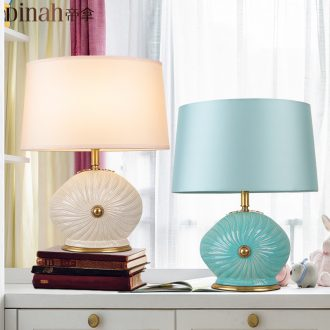 Emperor all creative move brass shells ceramic desk lamp boys and girls study of blue and pink bedroom berth lamp