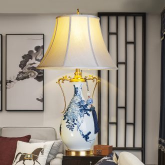 Emperor with jingdezhen hand - made ceramic desk lamp sitting room key-2 luxury decoration lamp atmosphere full of new Chinese style lamp cooper