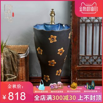 Retro pillar basin of archaize floor ceramic lavatory toilet lavabo courtyard sink outdoor