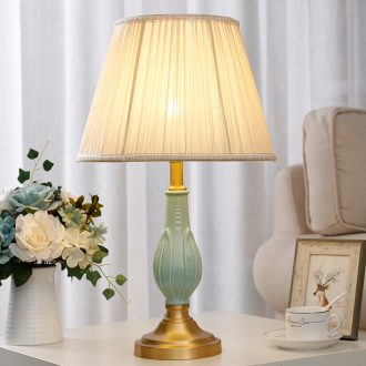 The Desk lamp of bedroom the head of a bed lamp ceramic full copper decoration luxurious sitting room show originality romantic warmth American Desk lamp