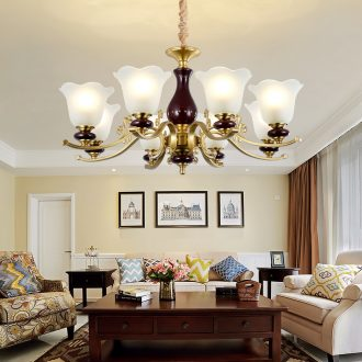 Ou all copper chandelier retro atmosphere of household ceramic contracted and I dining - room lamp American copper lamp sitting room lamps and lanterns