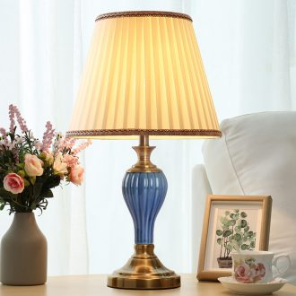 American ceramic desk lamp light sweet American of bedroom the head of a bed contracted and I creative move dimming wedding room decoration